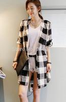 NEW 2014 fashion summer autumn women natural color big plaid notched long shirt Korean shirt  shawl cardigan coat