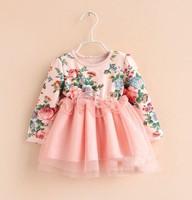 2014 Autumn Elegant  long sleeve Ruffly Little Girl Flower Dress For Kids Clothes Children Tulle Gauze Dress, 5pcs/lot, A-bg073