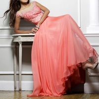 Chiffon Fabric vestidos de fiesta china High Eed Embroider Lace Evening Dress OL102480