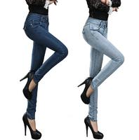 New 2014 Women Skinny Pencil Pants Cotton Stretch jeans women Denim trousers Popular Fashion plus size 26-31 jeans womens