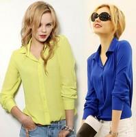 Women Blouses Direct Selling Free Shipping Button Solid 2014 Autumn New Long-sleeve Shirt Female Chiffon Women's Slim Clothing