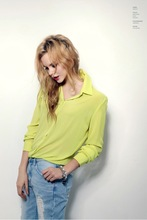 Women Blouses Direct Selling Free Shipping Button Solid 2014 Autumn New Long sleeve Shirt Female Chiffon