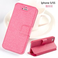 Good Quality Silk Print Holster Stand Flip Leather Case For iPhone 4 4S Cover For iPhone 5 5S 5C