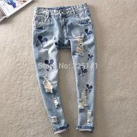 2014 New summer jeans denim Vintage Girls Jean woman Jeans for women Pants Loose Ripped Carton  Hole Women Harem Pants Baggy