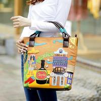 Braccialini 's same designer women's vintage handbag handbag PU preppy style casual bag
