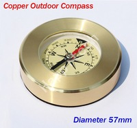 Free Shipping 50pcs/lot High Quality Zinc Copper Outdoor Compass, 57mm Golden Camping Compass, Hiking Compass.