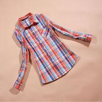 Clearance 2014 autumn summer hot sale long sleeve plaid women casual blouse,slim show thin all-match lightweight Anti-Sai shirt