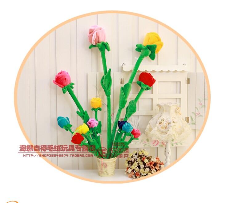 30cm plush flower plush rose multiple- function flower used as curtain pin 5 pcs free shipping(China (Mainland))