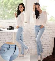 Exclusive!! Light Blue New Korean Pencil Pants Slim Women Jeans Denim Pants Classic Skinny Jean Fashion 2014 Free shipping