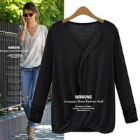 Good Look Chiffon Spliced T Shirt Women V-neck Autumn Tops For Lady 2014 Fashion Long Sleeve Fitness Base Tees 8013