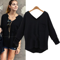 Fashion Look V-neck Casual T Shirt Women Cotton Long Sleeve Autumn Tees European One Pocket Plus Size Lady Tops 8020