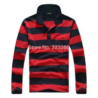 Fall 2014 new fashionable man lapel long sleeve stripe polo