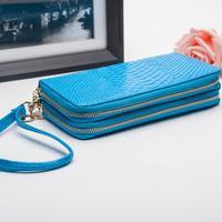 Genuine Leather Wallet Brand Cluthes Long Korean Double Zipper Serpentine Fashion Multifunctional Ms Women Wallets