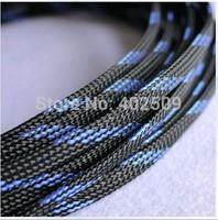 Flat OD 6mm 200M/lot (656feet)whole sale good quality black with blue tracer braid PET sleeve