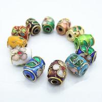 25 PCS Colorful Flower Pattern Enamel Chinese Cloisonne Beads DIY Fashion Jewelry Beads 7*9mm
