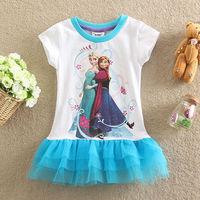 Free Shipping 2014 Hot Selling New baby Girls Frozen Dress Anna Elsa beautiful Dress Fashion vestido infantil kids dress BC058