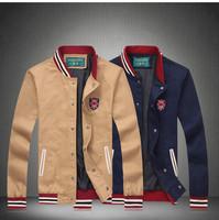 2014 Free Shipping Newest Men's Casual Outwear England Preppy Style Baseball Coat Men Baseball Jacket