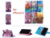 New Painting Maple / Flowers Flip Card Slot Stand Wallet Leather Case for iPhone 6 4.7 inch 6 models