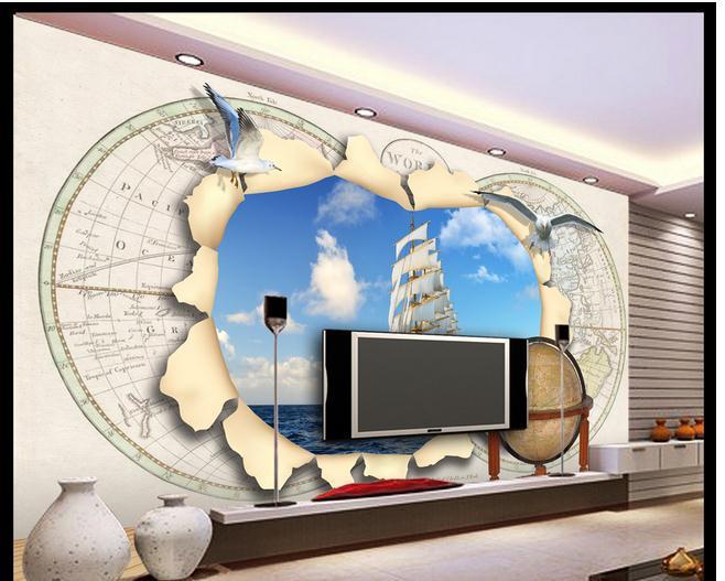 Papel de parede europeu mapa 3d Roman globos gaivota TV pano de fundo papel de parede 3d papel de parede grátis frete 71yk(China (Mainland))