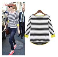 New 2014  Women Summer T Shirt Asymmetrical Hem Loose O Neck Striped T-shirt Fashion Girl Casual Tees XXL