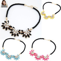 Fashion Hot Newest Woman Lady Crystal Flower Necklace 4 Colors Alloy with Manmade Crystal