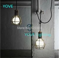 Loft Garage Work Lamp Pendant Lights Modern Warehouse Living Room Pendant Light Pendentes Luz Iron Vintage Birdcage Pendant Lamp
