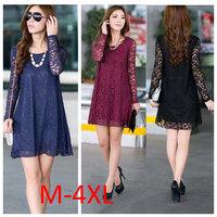 Sale Plus Size M-4XL New 2015 Winter Autumn Dress Women Fashion Clothing Long Sleeves Crochet Loose Casual Lace Dress 1066