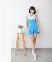 New 2014  Women's Summer Sweatshirt Sleeveless Casual Solid T shirt + Shorts Two-piece suit girl t shirt women Free Shipping 605