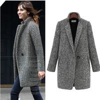 2014 Design New Spring/Winter Trench Coat Women Grey Medium Long Oversize Plus Size Warm Wool Jacket European Fashion Overcoat