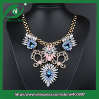 Chunky multi colored beads necklace modern elements color rhinestone necklace
