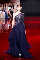 2015 Elie Saab Evening Dresses A-line One-shoulder Long Sleeves Dark Navy Beaded Open Back Chiffon Long Party Evening Gown