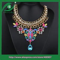 Latest design beads necklace multicolor glass bead necklace