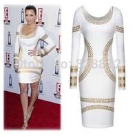 2014 star OL bronzing white  black printing slim dress trade pencil dress