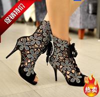 BIG sale 2014 women summer flower hollow out rhinestone sandals , girl summer fashion comfortable sandals  XNP0008