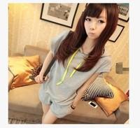 New 2014 Summer Women Casual Sweatshirt Short Sleeve Plus Size Solid T shirt + Shorts Two-piece suit girl t shirt women  959
