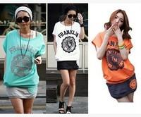 New 2014 Summer Women Fashion Sweatshirt Short Sleeve Letter Printed  T shirt + skirt  Two-piece suit girl t shirt women 914