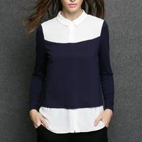 Plus Size Clothing Women Color Block Patchwork Long Sleeve Fake Two-piece Blouse l,xl,xxl,xxxl,xxxxl JW3290