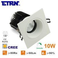 Daei ETRN Brand 2014 new 10W Dimmable LED Downlights LED Recessed lights Square TD1507S-BF10WD CREE COB  Free Shipping