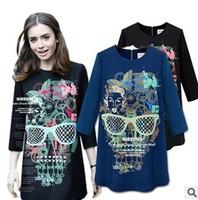 Spring of 2014 new European and American temperament skull printed slim Long Sleeve dress