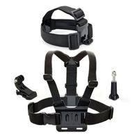 4 IN1 Harness Adjustable Elastic  Chest Belt + Head Strap Mount  with Plastic Buckle+ J-Hook Buckle + Screw for Gopro Hero 2 3