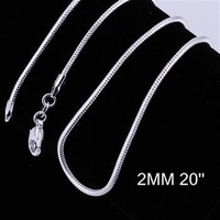 Free Shipping , 925 silver Fashion jewelry 2MM 20 Inch Snake Chain CC10