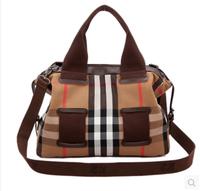 Fashion plaid k2 portable women's handbag vintage 100% cotton canvas backpack messenger bag motorcycle bag