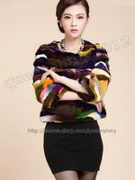2014 New 100% Real Genuine Rex Rabbit Fur Coat Jacket Unique Colorful Women Clothing Vintage Gift Fashion Warm Winter