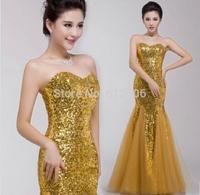Shinny Golden Sequin Prom Dresses 2014 Sweetheart Zipper Ruffle Hemline Floor Length Column Special Occasion Gowns