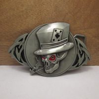 Skull belt buckle with pewter finish FP-03459 suitable for 4cm wideth belt with continous stock