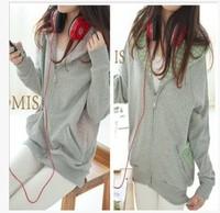 new 2014 Fashion women hoodie New stock  long-sleeve Polka Dots Zipper Thick Cardigan t shirt  women's sweatshirt  With Hat 953
