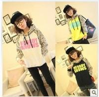 new 2014 Fashion women hoodie New stock leopard patchwork long-sleeve with a hood Korean autumn t shirt  women's sweatshirt 908