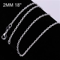Free Shipping, 925 silver Fashion jewelry 2mm 18 Inch Fang word chain CC12