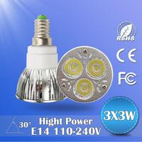 6pcs/lot led spotlight 9w 12w 15w led light bulbs 110v 220v led ceiling light e14 base high quality led downlight
