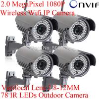 4pcs 78IR Waterproof H.264 Onvif 2.0 Megapixel 1920x1080 1080P Full HD Network WIFI Wireless IP Camera Varifocal 2.8-12mm lens